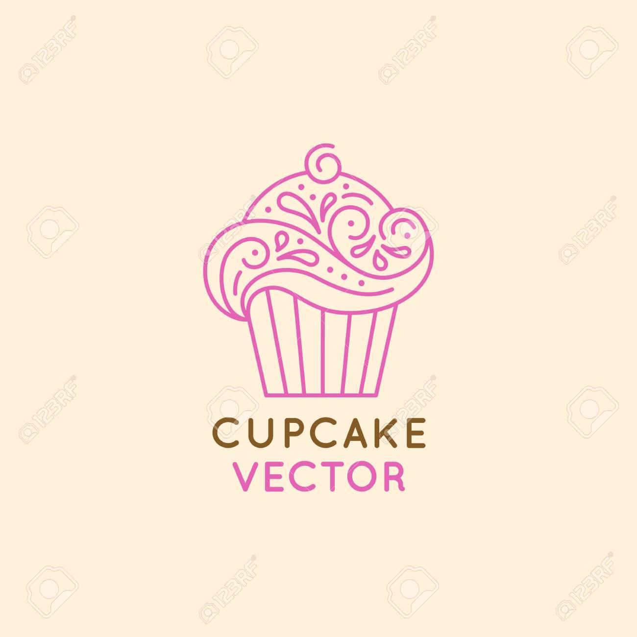 Modele De Logo De Logo Vectoriel Et Insignes En Style Lineaire Plat Cupcake Sucre Embleme Pour Confiserie Boulangerie Et Cafe Faire Cuire Des Gateaux Savoureux Clip Art Libres De