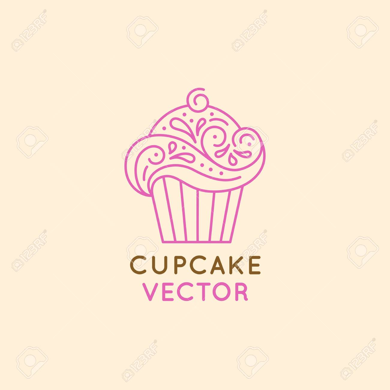 Vector design of sweet cupcake for confectionery store, bakery and cafe businesses - 83918407