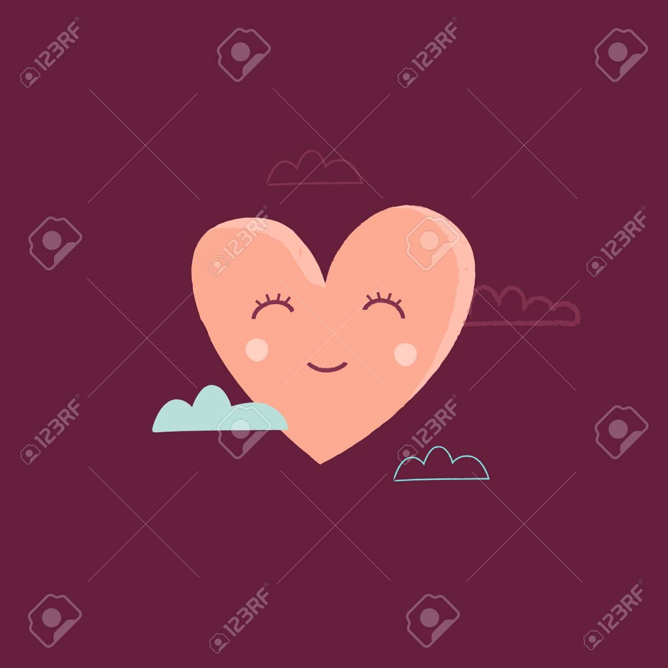 Vector Illustration De Dessin Animé Dans Un Style Enfantin Simple Avec Coeur Pépinière Pièce Imprimer Modèle élément De Conception Pour La Carte De