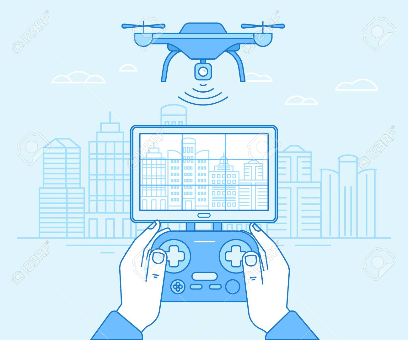 Vector illustration in flat linear style and blue colors - drone