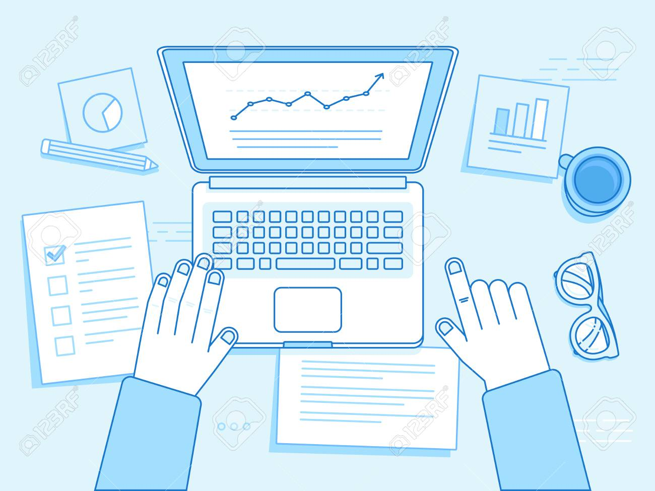 Vector business illustration in trendy linear style and blue colors related to project management, business strategy and financial development - hands with laptop, coffee cup, glasses and documents - 91079685