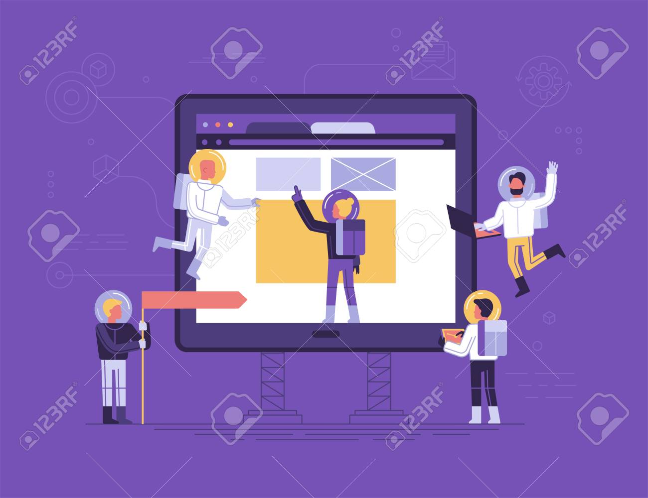 Flat linear style app development concept vector illustration, small people astronauts in space suits building code and design for mobile phone, start up metaphor. - 97612530