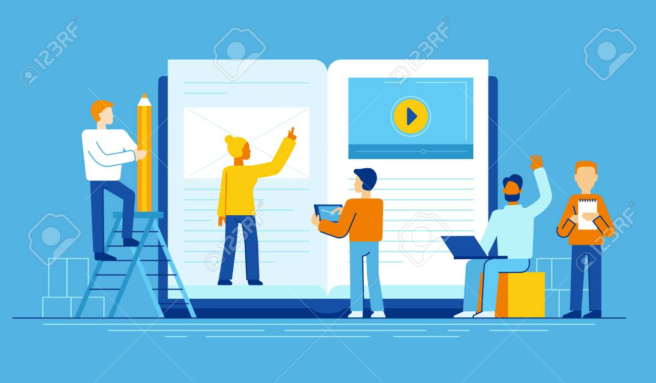 Vector illustration in flat style - online education concept - small people studying near big tablet pc with e-book and online course - 97055642