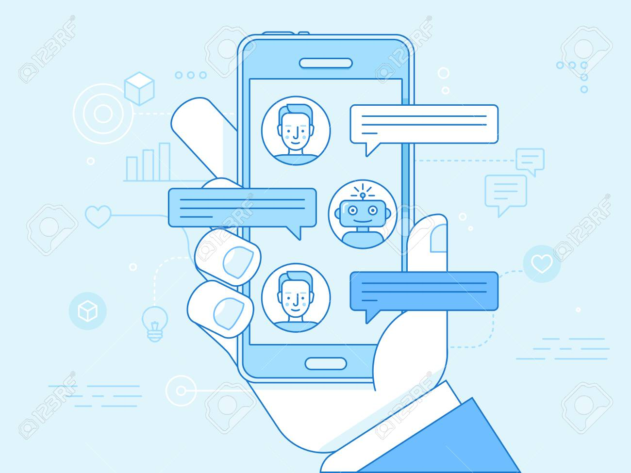 Vector flat linear illustration in blue colors - chatbot concept - virtual assistant and online support - 100296381