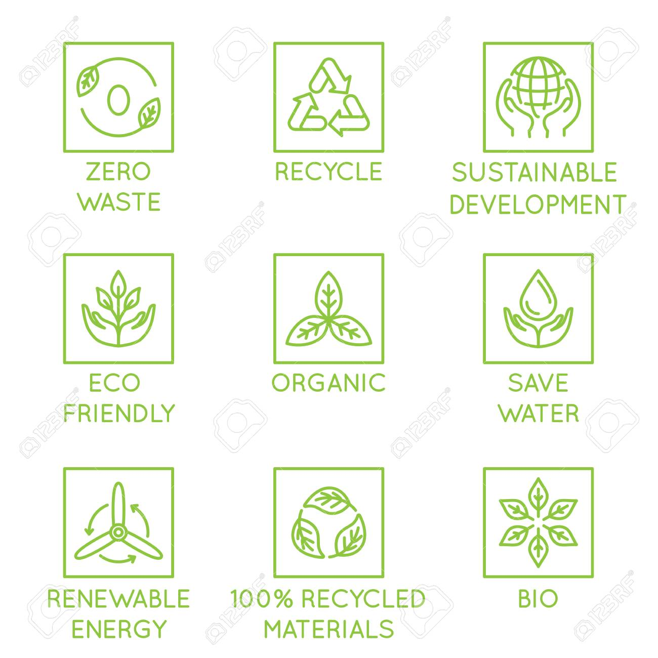 Vector set of design elements, logo design template, icons and badges for natural and organic ecological products in trendy linear style - zero waste, recycle, sustainable, development, eco friendly, organic, save water, renewable energy - 106275732