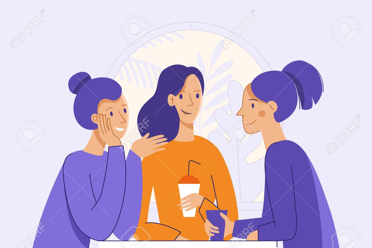 Vector illustration in flat linear style - female friends drinking coffee and chatting - cartoon characters sitting at table in the cafe - 106057908