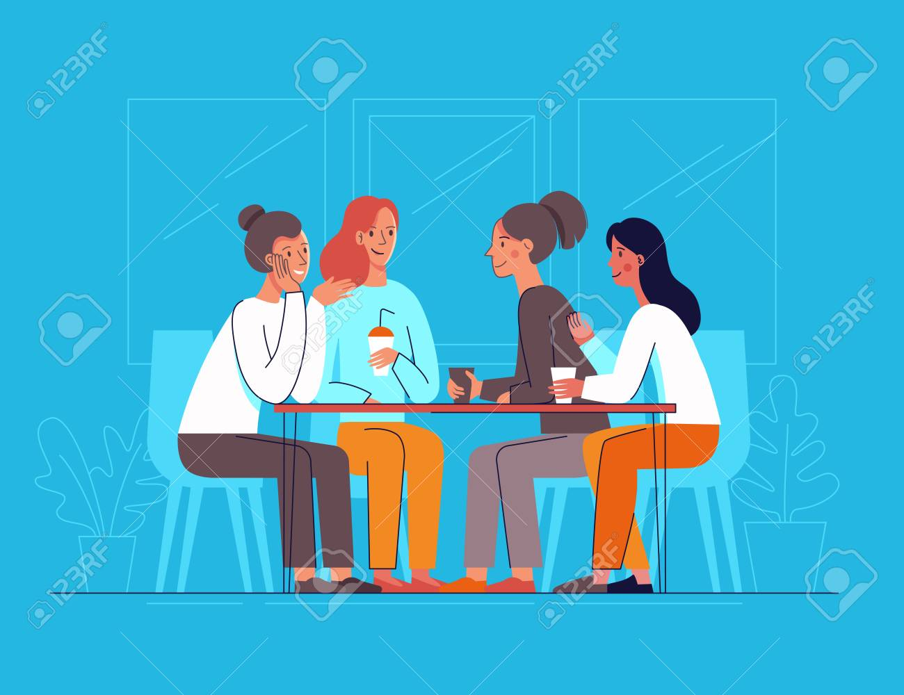 Vector illustration in flat linear style - female friends drinking coffee and chatting - cartoon characters sitting at table in the cafe - 106057906