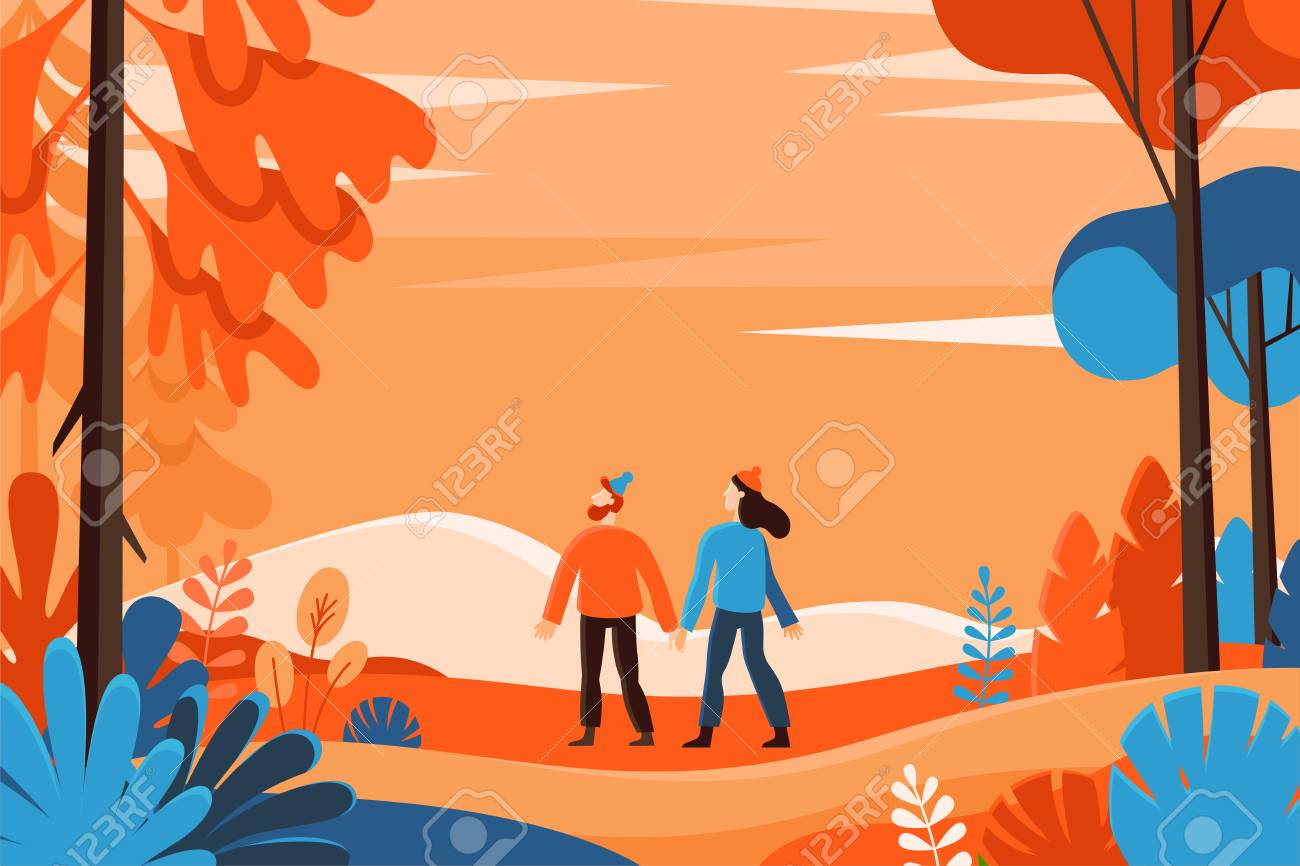 Vector illustration in flat linear style - autumn background - landscape illustration with two characters exploring autumn forest - greeting card design template - 107267139