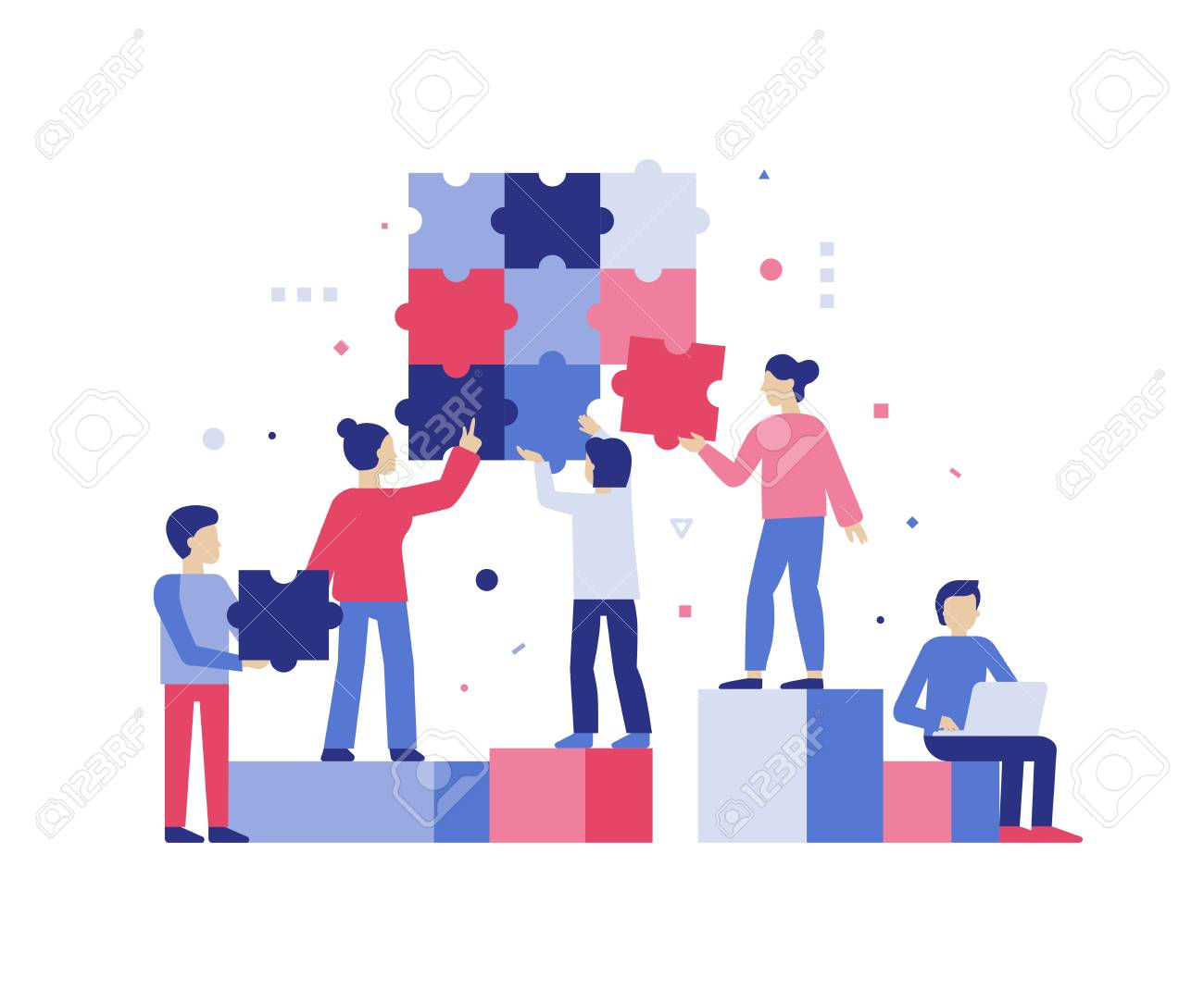 Vector illustration in simple flat style - teamwork and development concept - people holding puzzle pieces - banner and infographics design template - 110717596