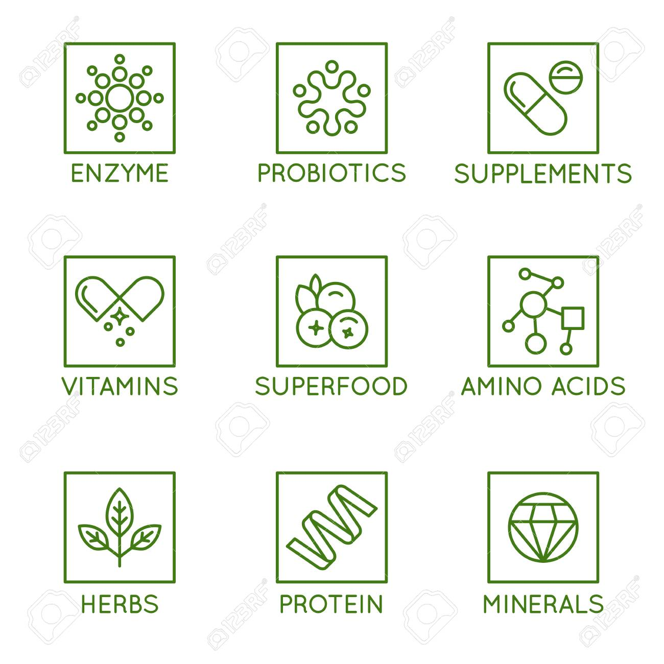 Vector set of icons and badges for packaging for natural health products, vitamins, supplements - healthy eating and dieting - set of design elements for organic and bio products - 110717598