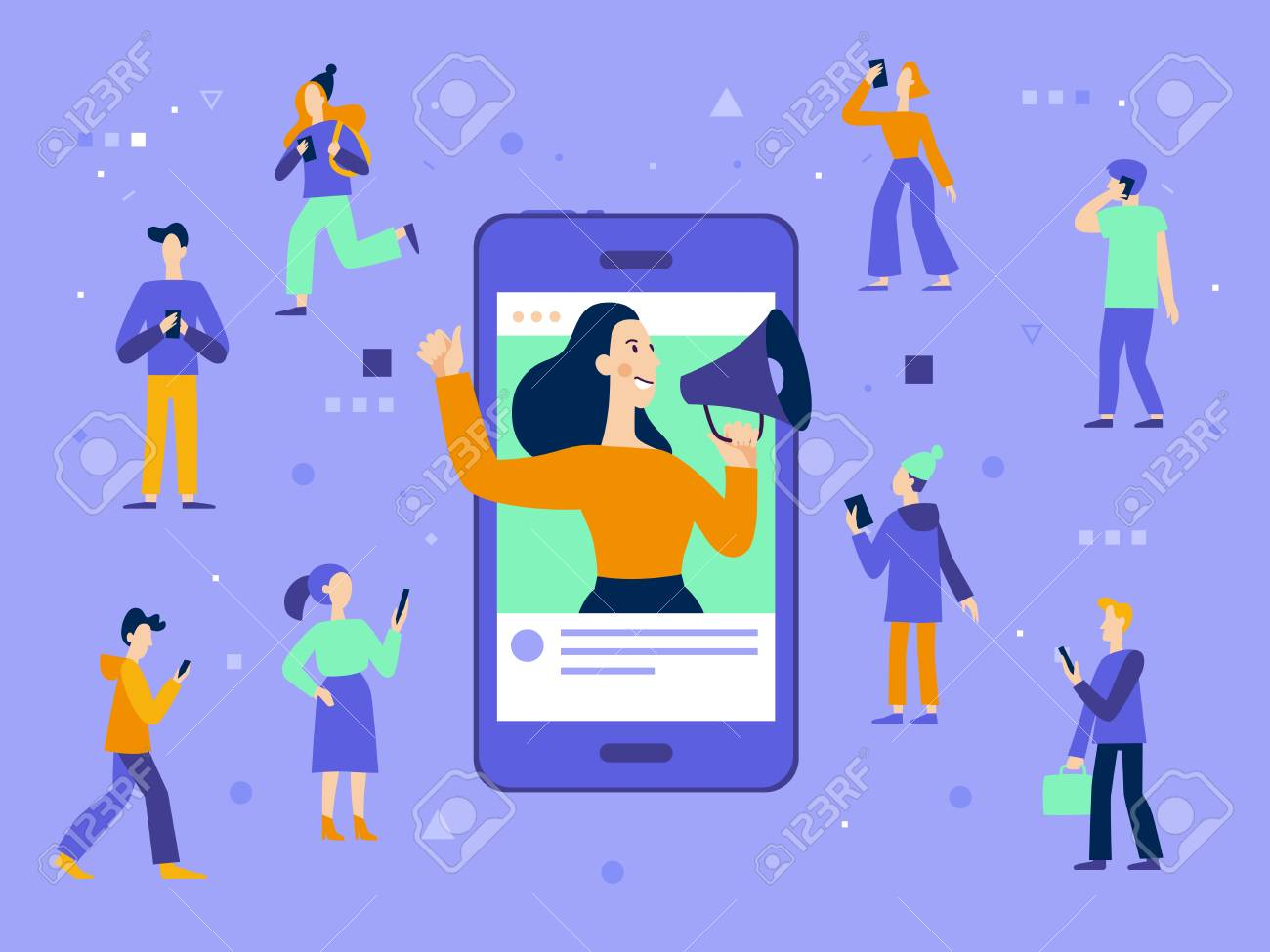 Vector illustration in flat simple style with characters - influencer marketing concept - blogger promotion services and goods for her followers online - 112689924