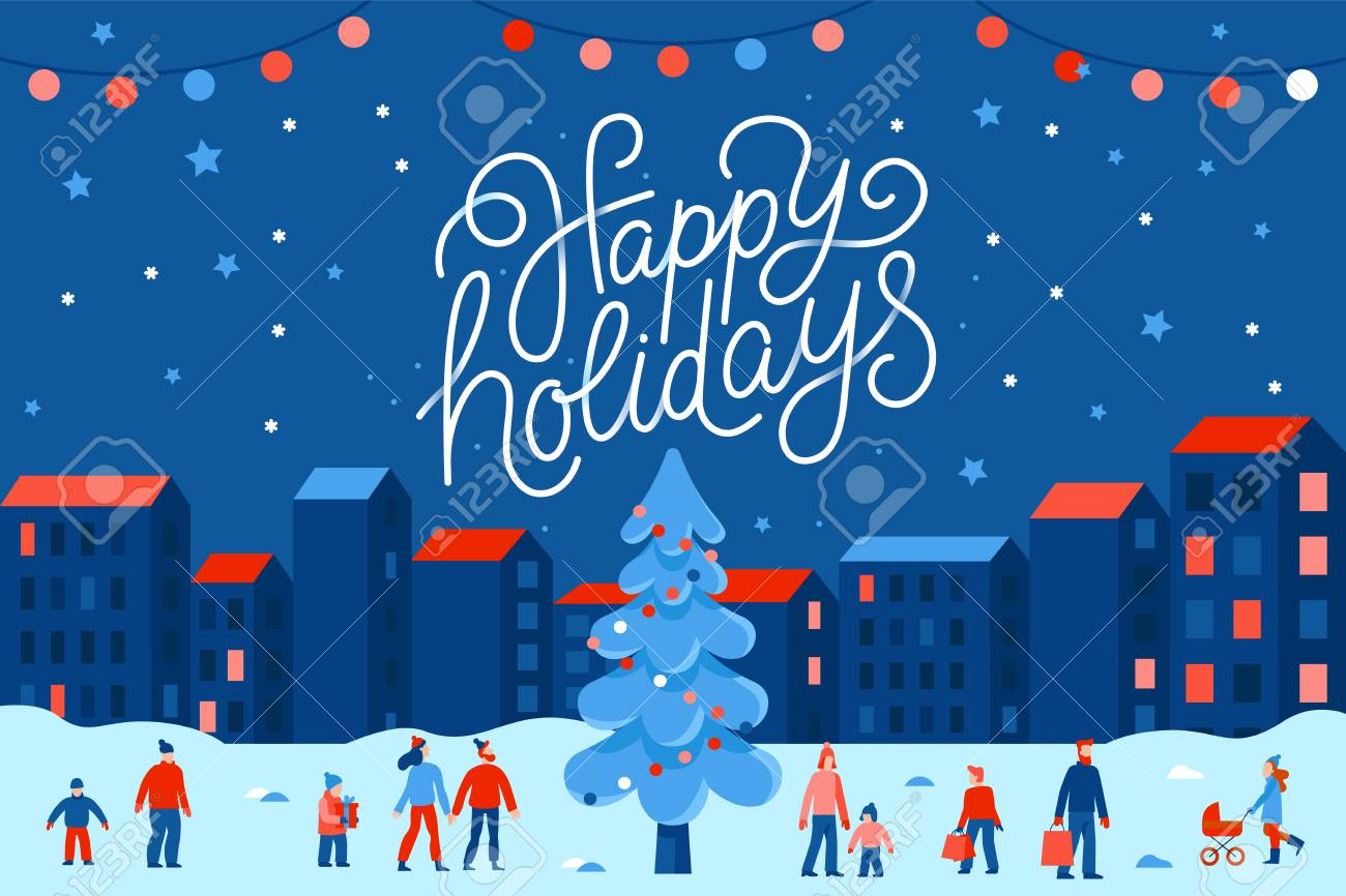 Vector illustration in flat simple style with hand lettering happy holidays - Christmas greeting card, banner, poster with people at festival seasonal market and fair at town square - 112689929