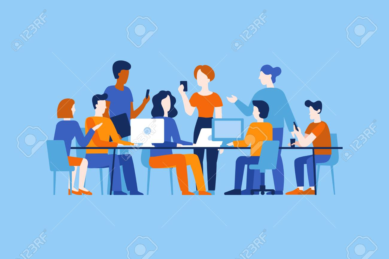 Vector illustration in flat simple style with characters - app and software development - people working together - team of computer programmers, graphic and interface designers, project managers - 112689941