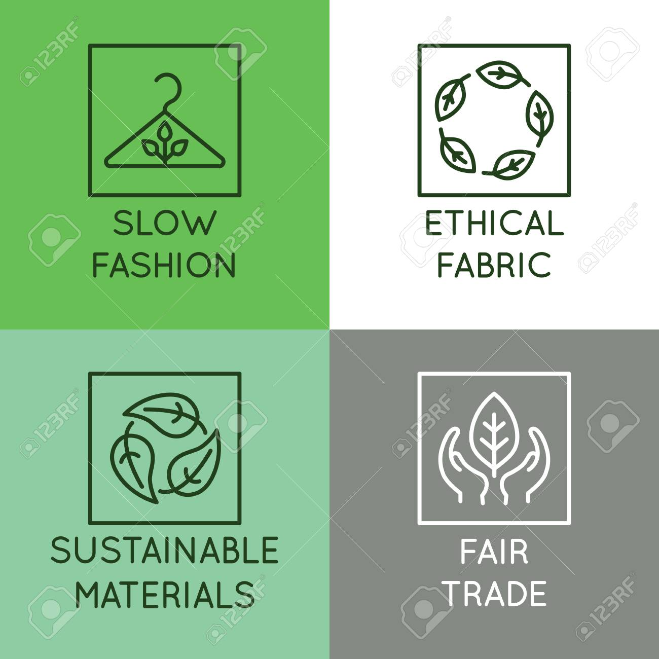 Vector set of linear icons and badges related to slow fashion - ethical fabric, sustainable materials, fair trade - eco-friendly manufacturing and organic certified producing of garment and apparel - 112689933