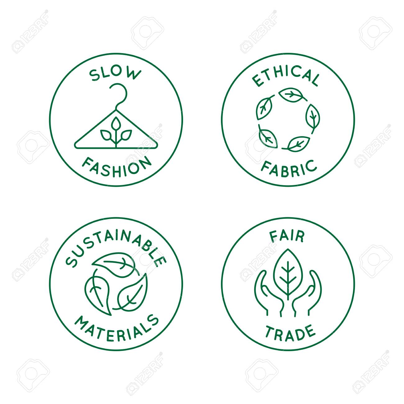 Vector set of linear icons and badges related to slow fashion - ethical fabric, sustainable materials, fair trade - eco-friendly manufacturing and organic certified producing of garment and apparel - 112689932