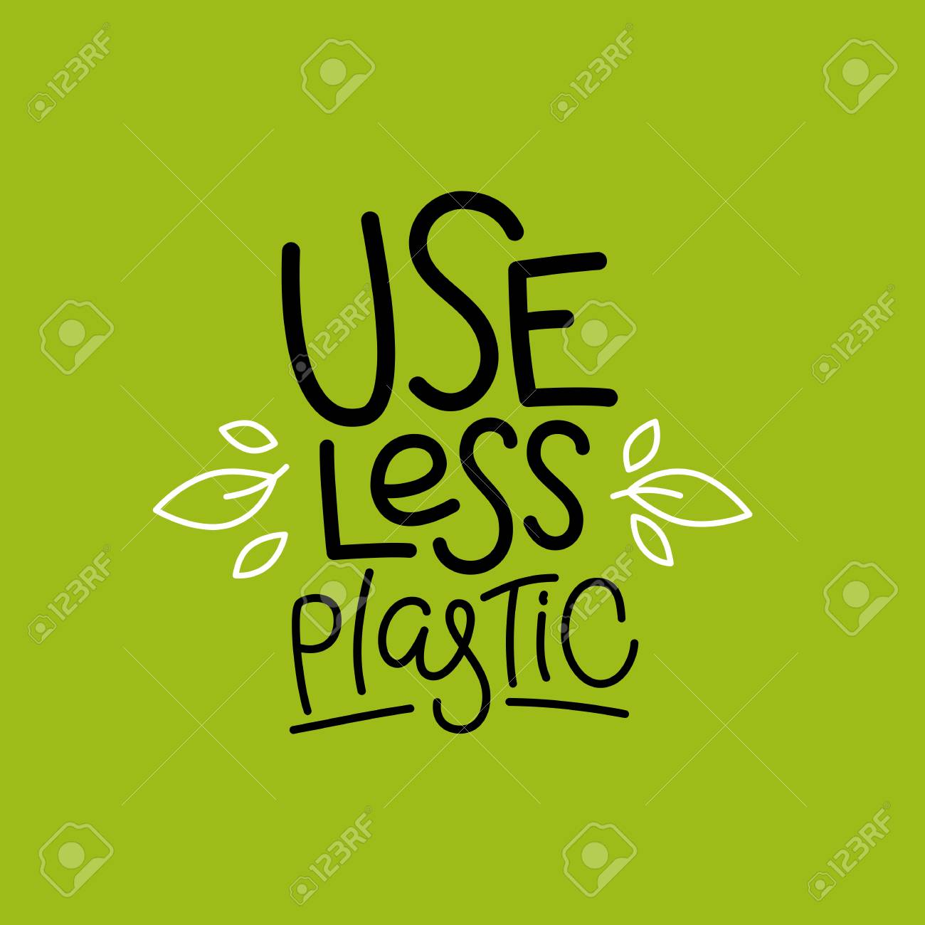 Vector logo design template and badge in trendy linear style and hand-lettering phrase use less plastic - zero waste concept, recycle and reuse, reduce - ecological lifestyle and sustainable development - 112689995
