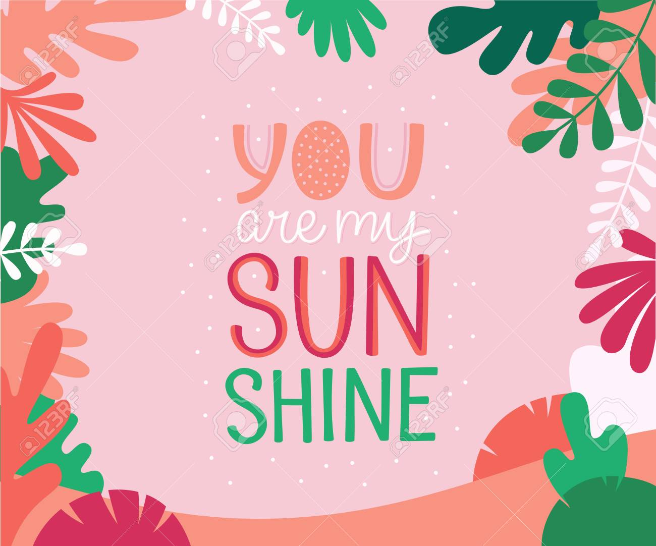 Vector illustration in simple flat linear style with hand lettering phrase you are my sunshine and leaves - valentine's day greeting card, poster design, print for stationery - 116389761
