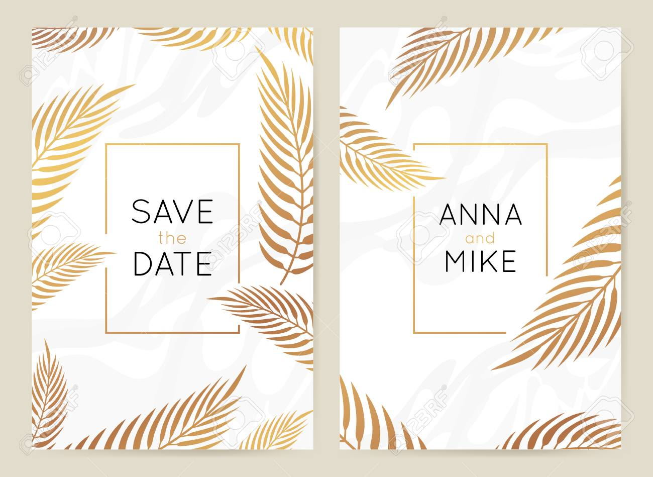 Vector design template in simple modern style with copy space for text - wedding invitation background and frame, luxury stationery and greeting card design with palm leaves and golden border - 117310080