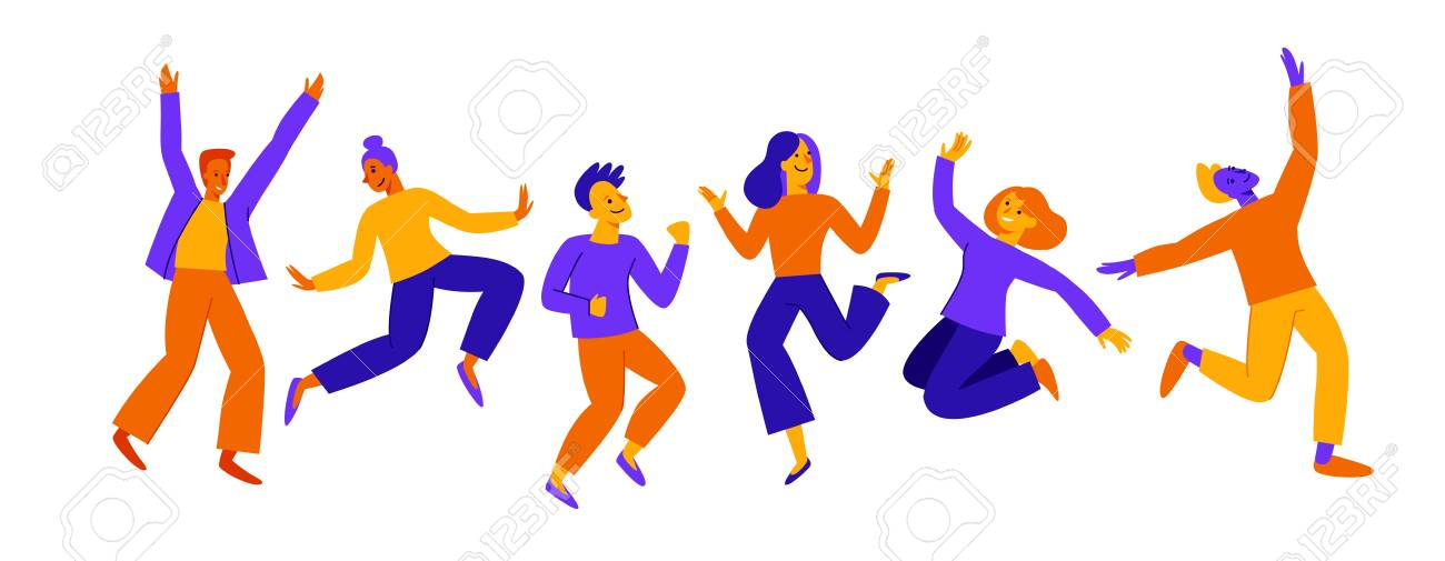 Vector illustration in flat simple style - happy jumping team - smiling men and women - victory, teamwork and cooperation concept - happy and joyful people - 122038159