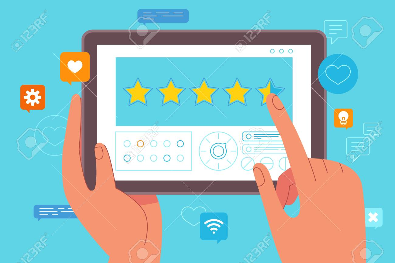 Vector illustration in flat simple style - customer service concept - hand making review using tablet pc - testimonial marketing and opinion leader - 122038192