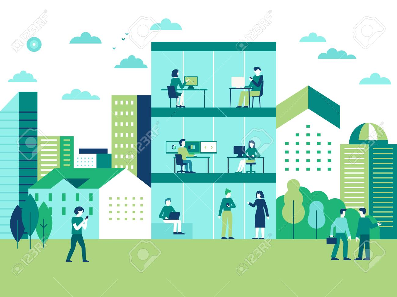 Vector illustration in flat simple style with characters - city landscape and coworking center with people working at the computers and laptops - teamwork and cooperation concept - 128168178