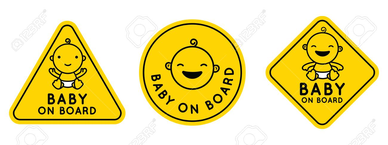 Vector set of signs and emblems - baby on board stickers with smiling cartoon baby character - 125177591