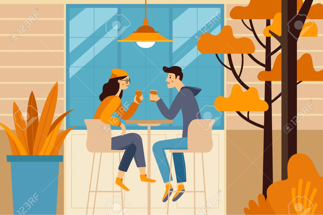 Vector illustration in flat simple style - autumn illustration - happy couple drinking coffee - cartoon characters in coffee house - 127685975