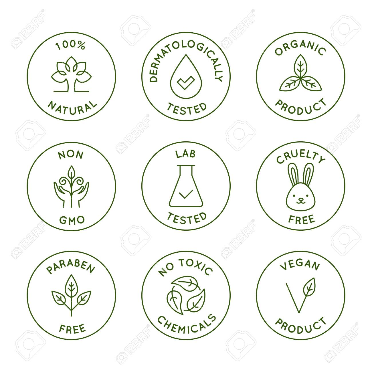 Vector set of design elements, design templates, icons and badges for natural and organic cosmetics packaging in trendy linear style - 100% natural, dermatologically and lab tested, vegan and cruelty free - 127686135
