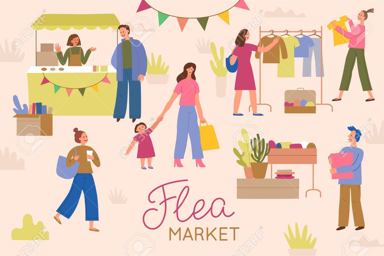 Vector illustration in flat simple style with cartoon characters - flea market poster and banner - people buying and selling second hand clothes and things at street fair - 133518326
