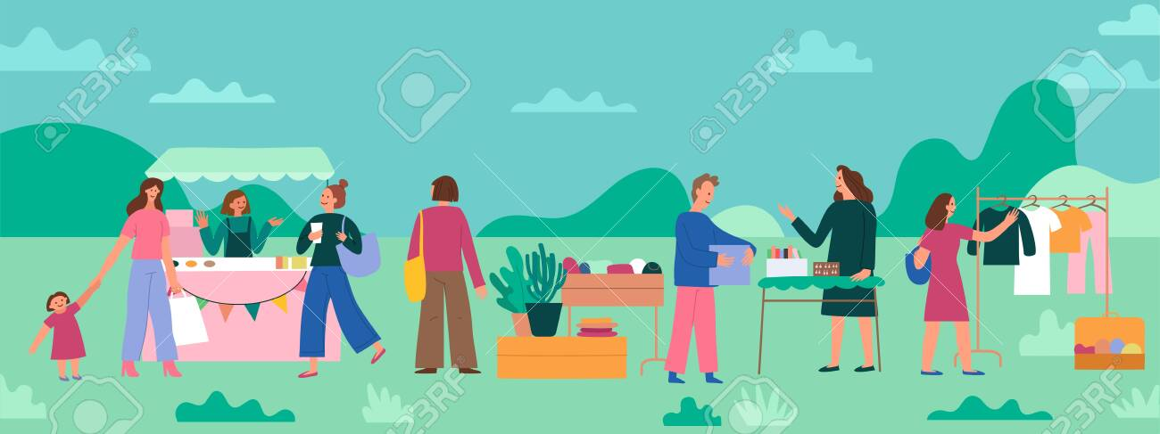 Vector illustration in flat simple style with cartoon characters - flea market poster and banner - people buying and selling second hand clothes and things at street fair - 133518328