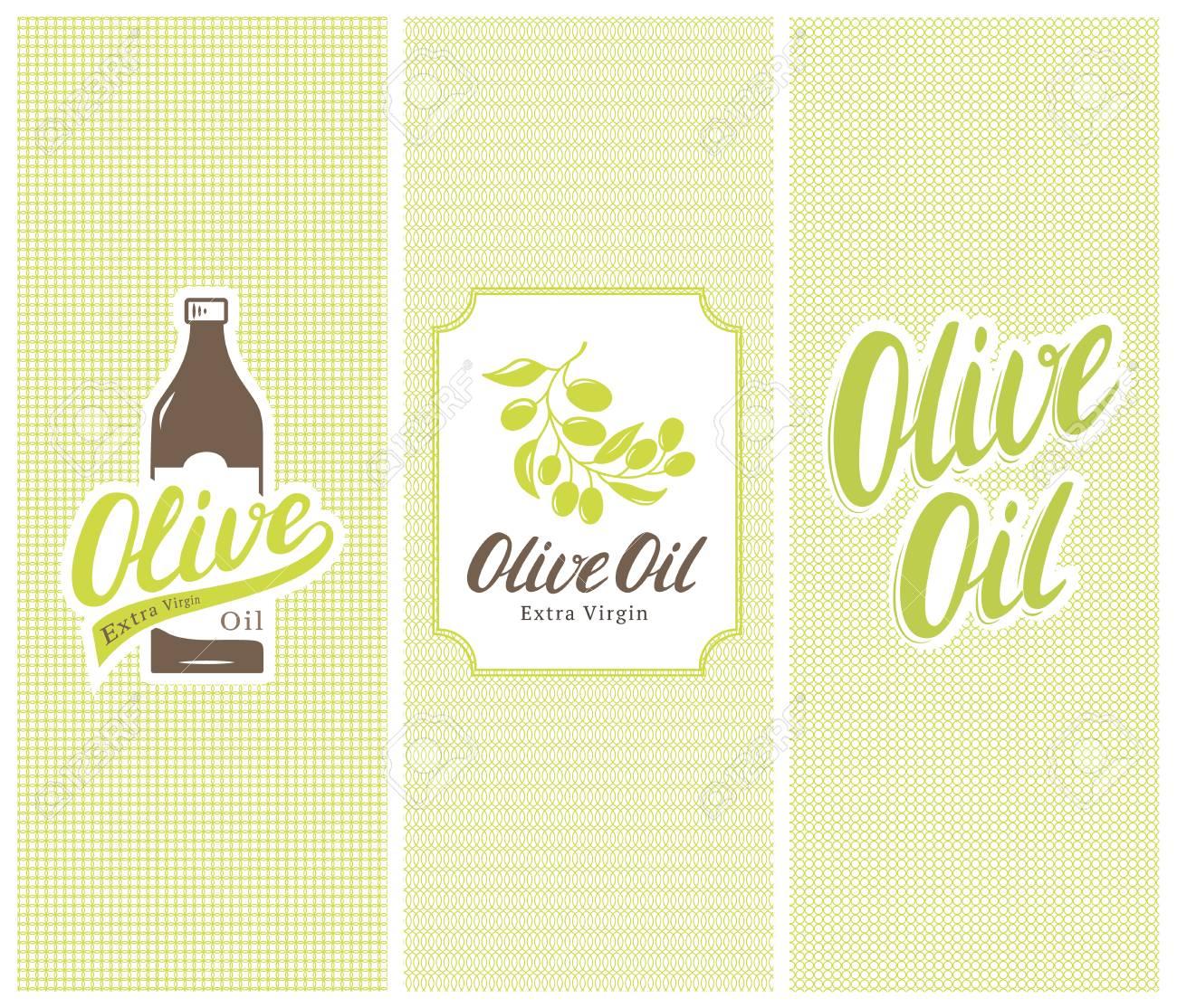 Olivenöl Marke Flasche, Etikett Und Aufkleber Mit Schriftzug Und ...