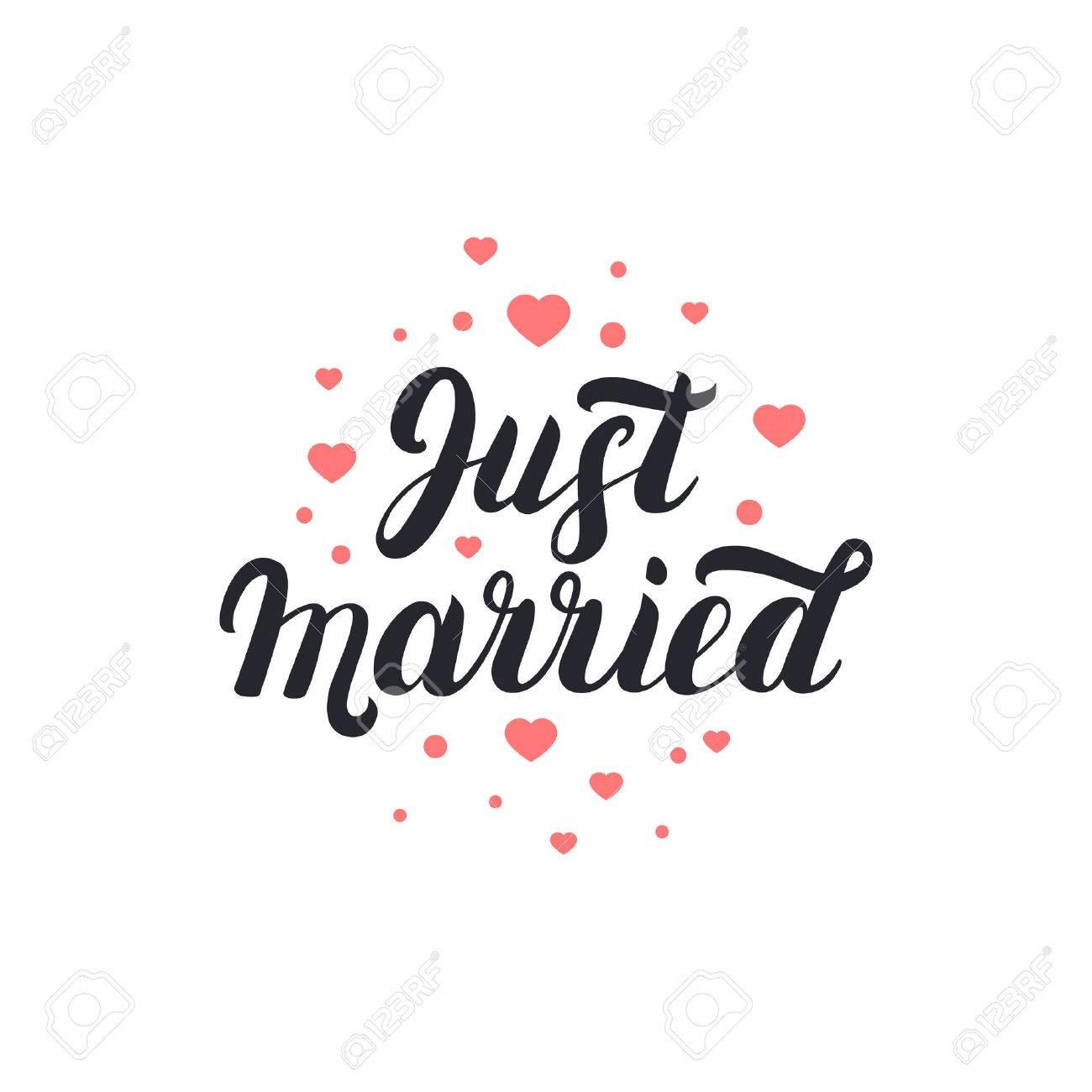 Juste Marié Manuscrit Des Lettres Avec Le Fond Des Coeurs Pour Les Cartes De Mariage Et D Invitation