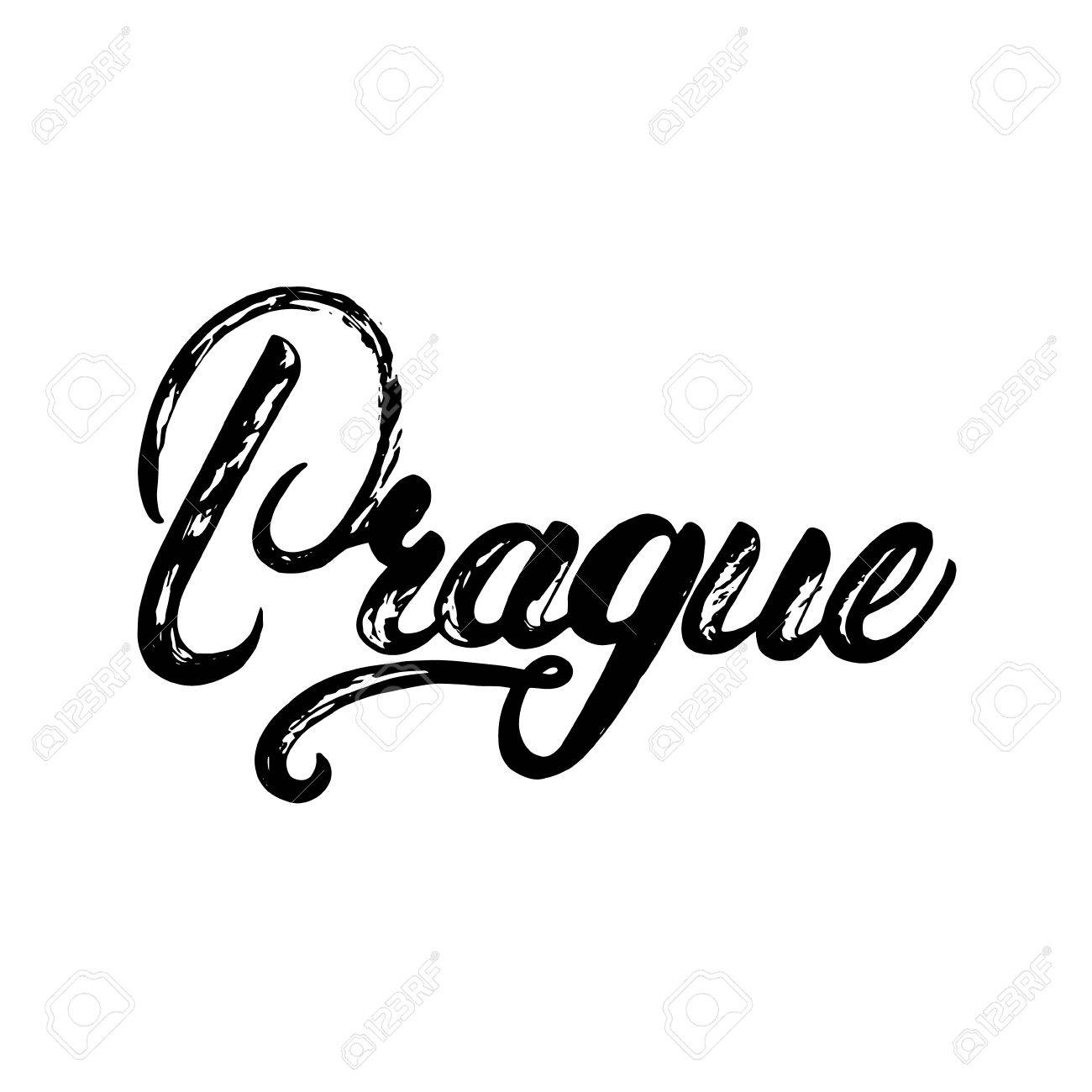 Prague Czech Republic Written Calligraphy Lettering Greeting Card Poster Tee Print With
