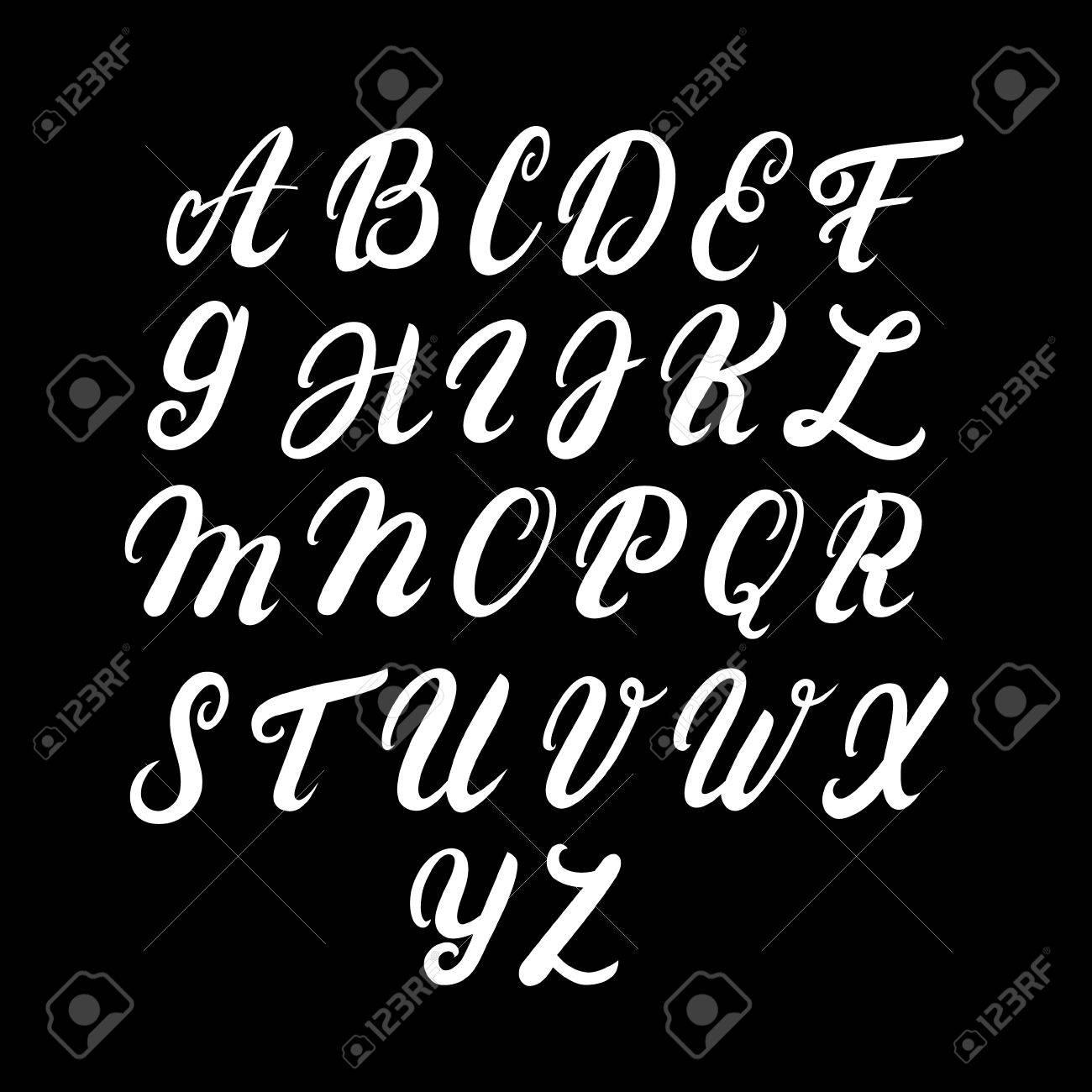 Hand Written Uppercase Alphabet Modern Brushed Lettering White
