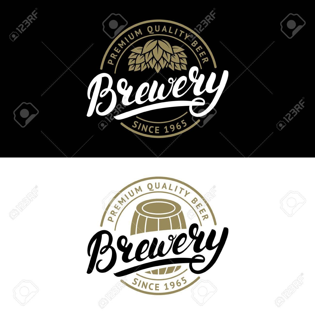 Conjunto De Logotipo De La Cervecería Letras De La Mano Escrita ...