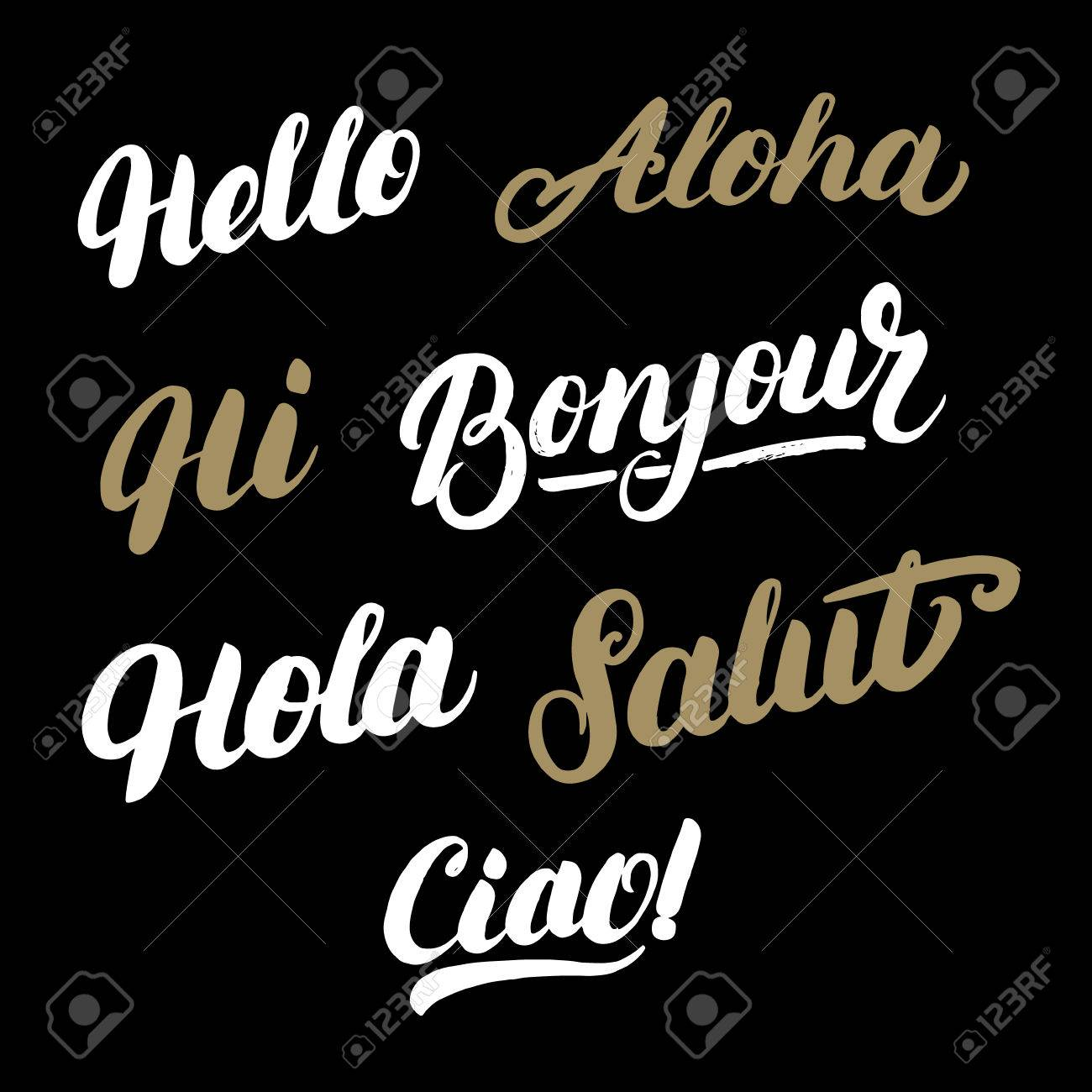 Set Of Greeting Words In Different Languages Hello Hi Hola