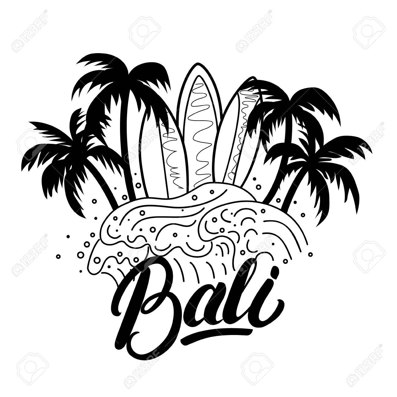 bali hand lettering surf poster tee print palms waves and Temples in Bali Indonesia bali hand lettering surf poster tee print palms waves and surfboards isolated