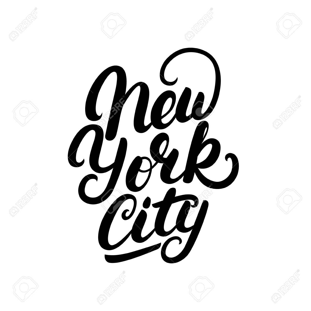 c98545ea New York City hand written lettering. Modern brush calligraphy. Tee print  apparel fashion design