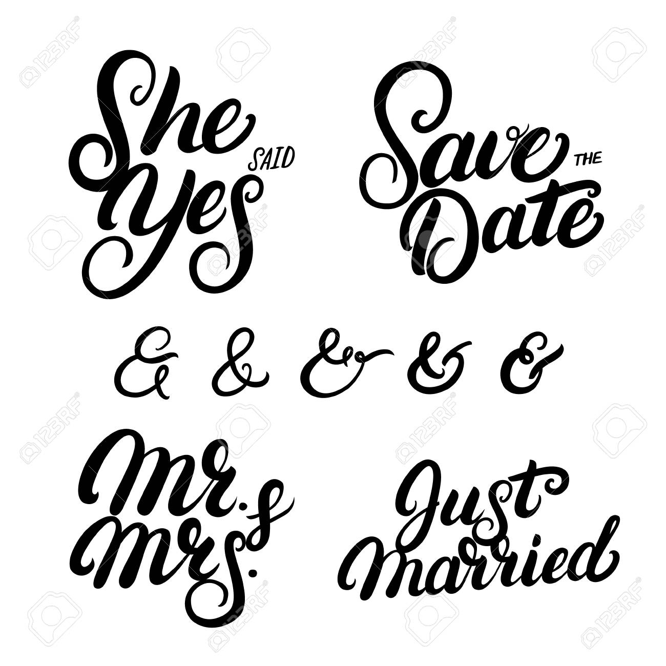 set of hand written lettering wedding quotes save the date