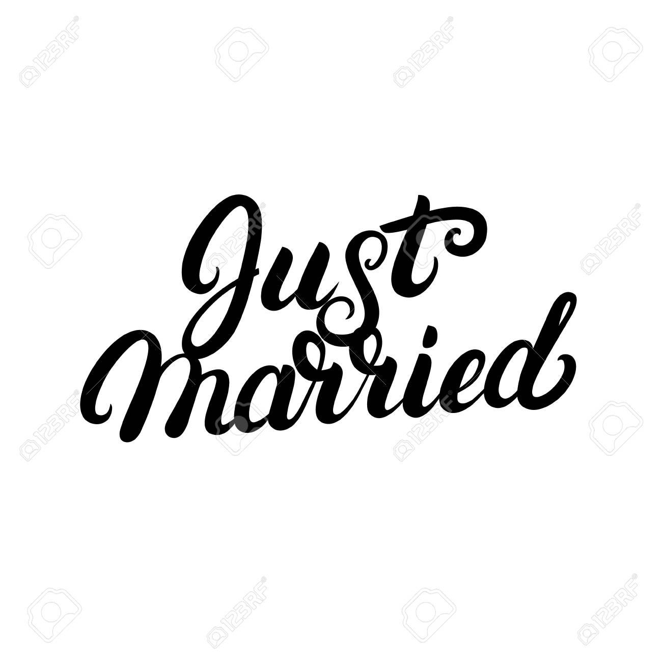 Gerade Verheiratete Hand Geschriebene Beschriftung Fur