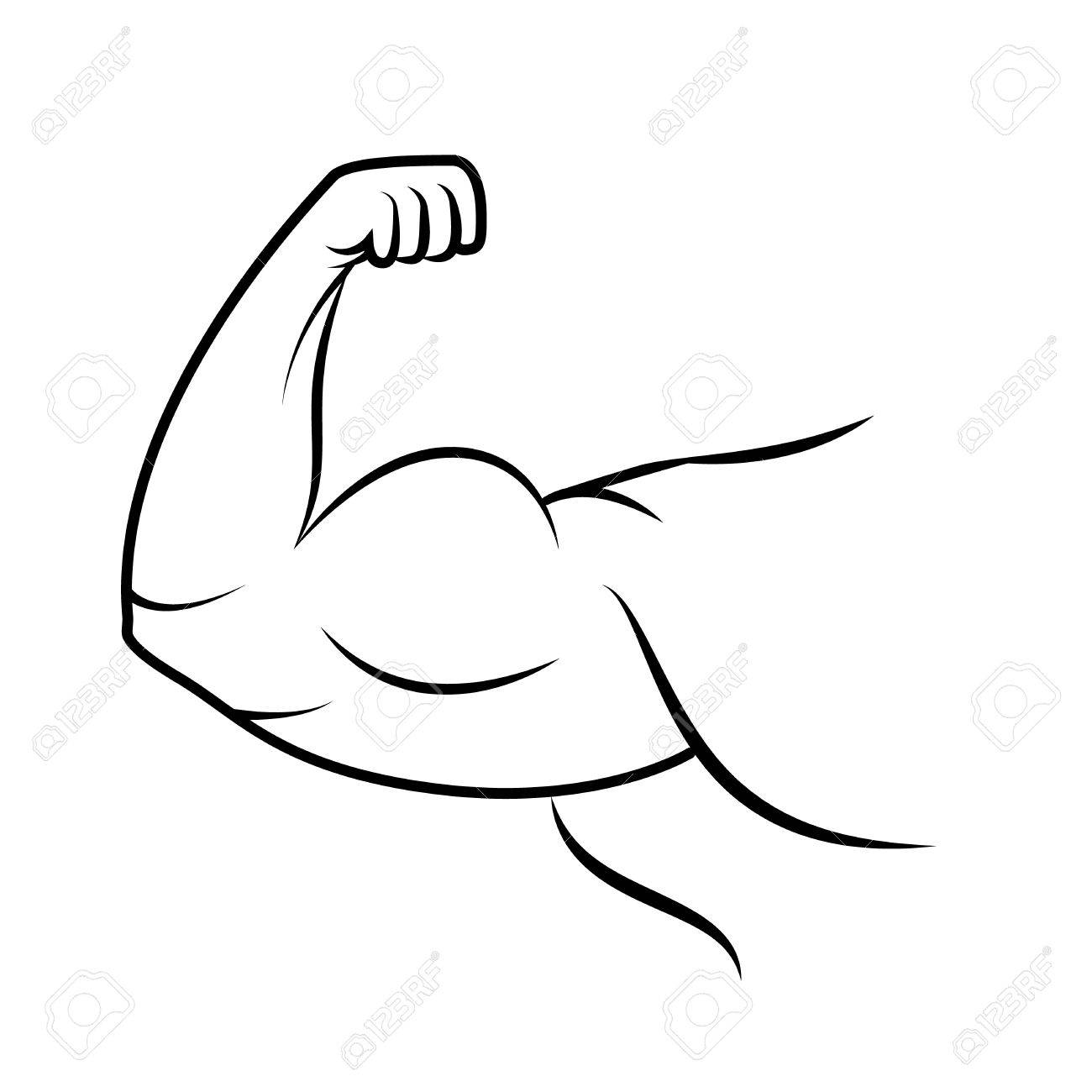 Icône de bras fort. Muscle culturiste. Dessin au trait. Puissance.  Illustration vectorielle f7154738e6c