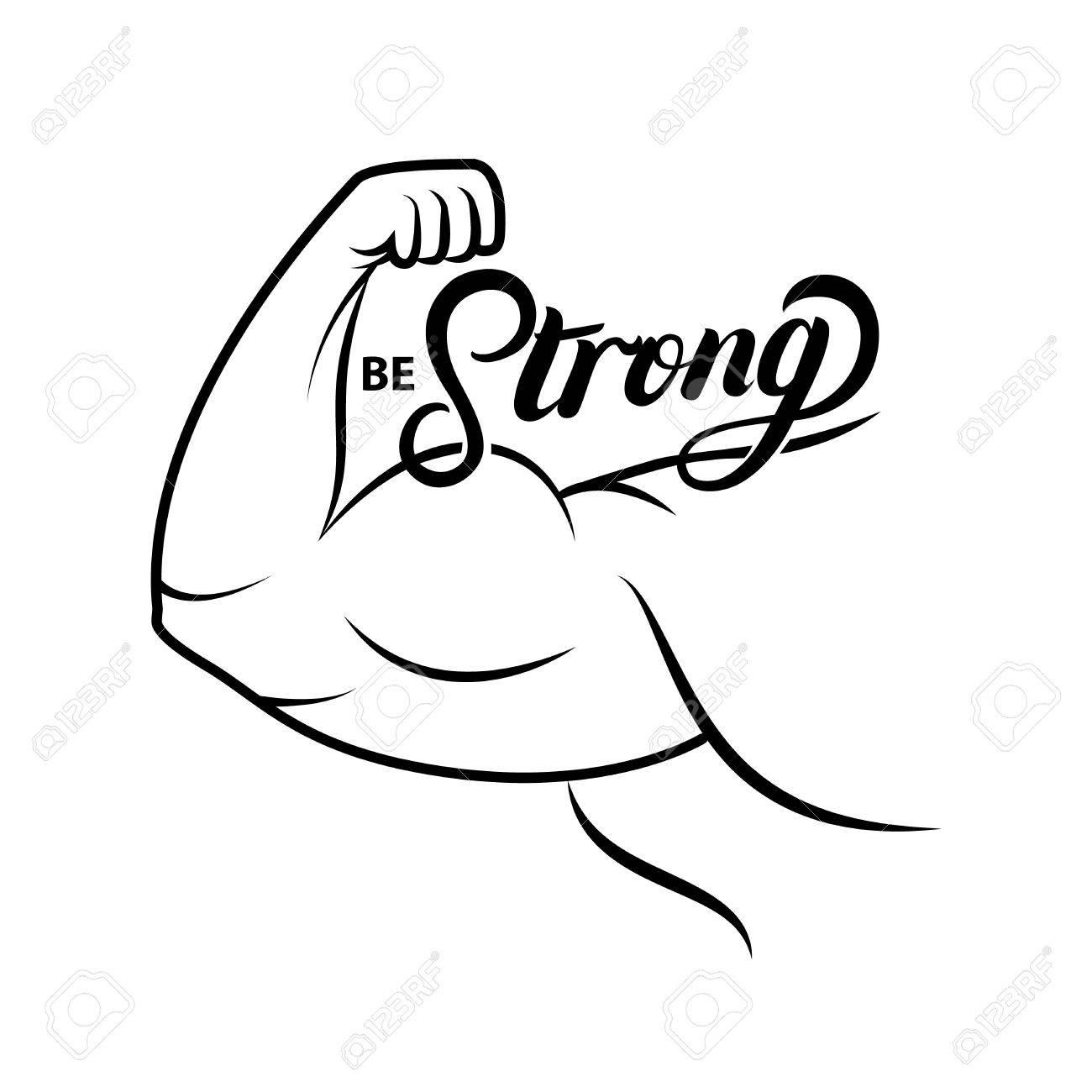 Icône De Bras Fort. Dessin Au Trait Muscle Bodybuilder. Puissance . b8ae5cd104b