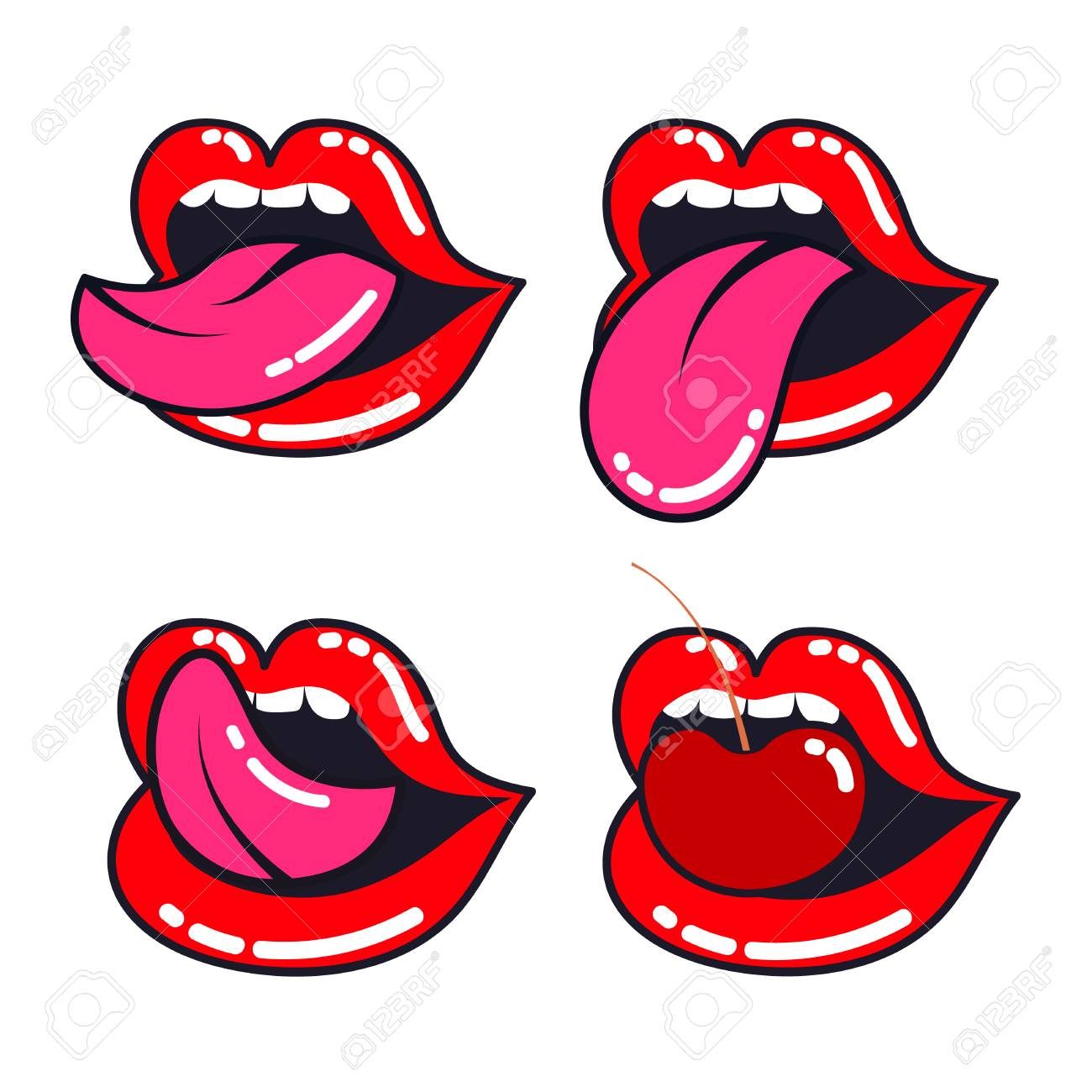 female lips set woman mouth with a tongue teeth and cherry rh 123rf com Eye Vector Vector Face