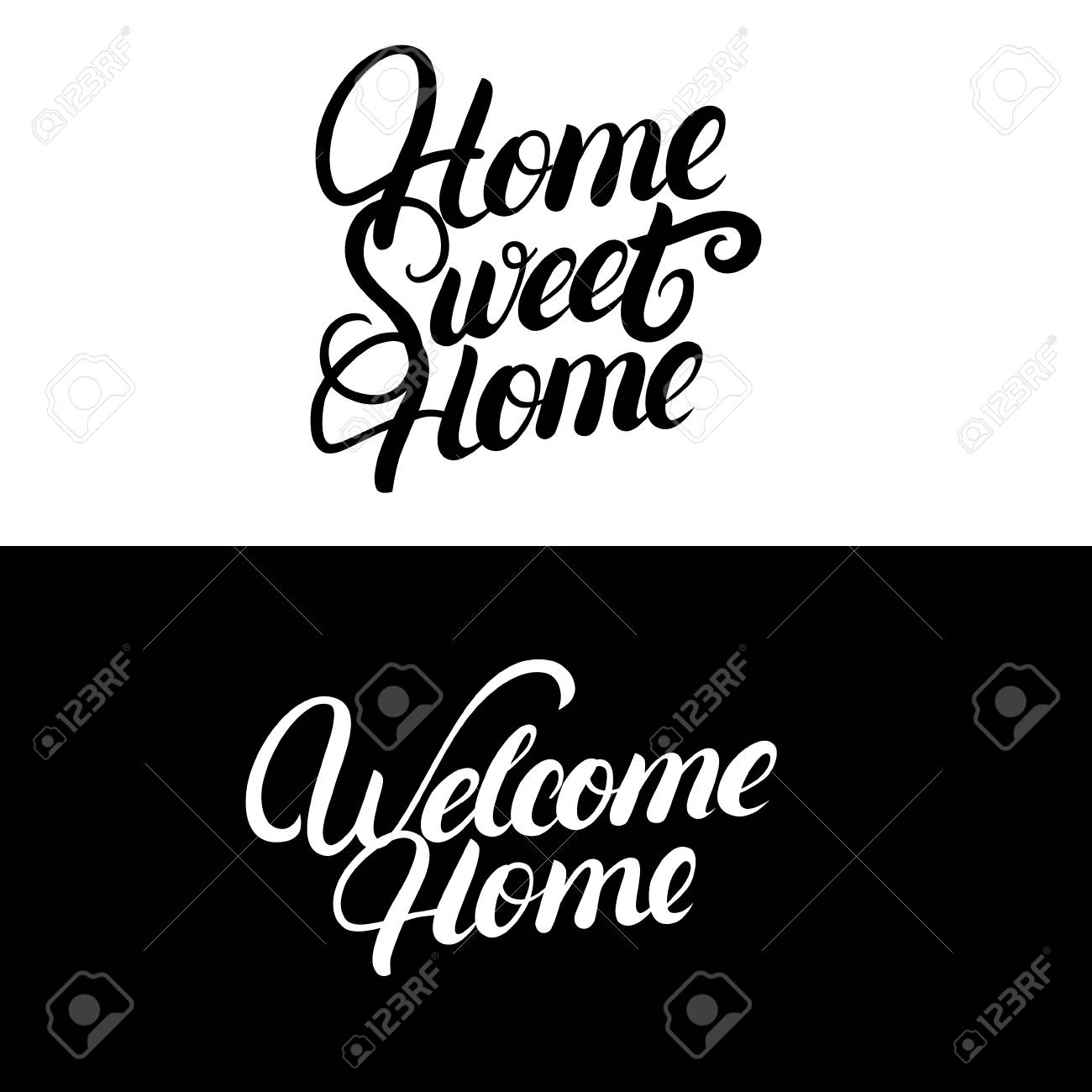 Inspirational Phrases Home Sweet Homewelcome Homehand Written Letteringcalligraphy