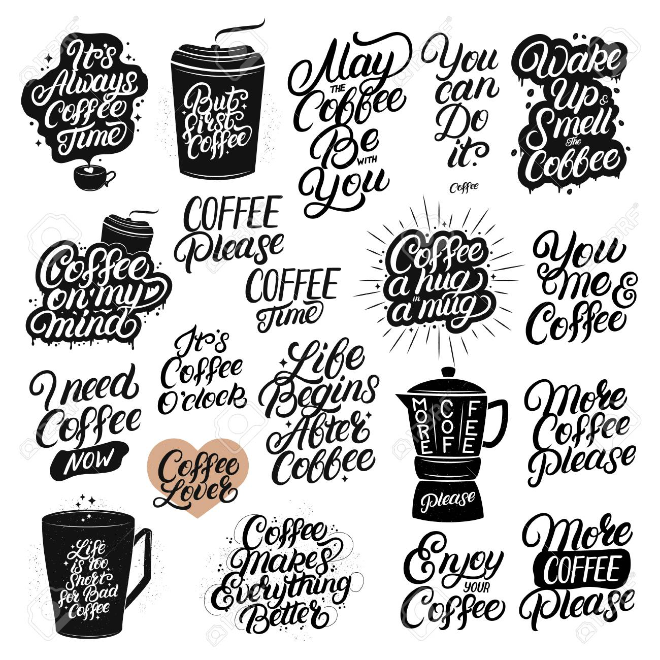 set of hand drawn lettering coffee quotes modern brush