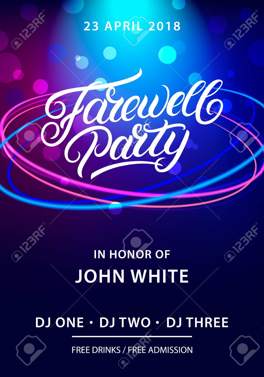 Farewell Party Hand Written Lettering Invitation Card Poster