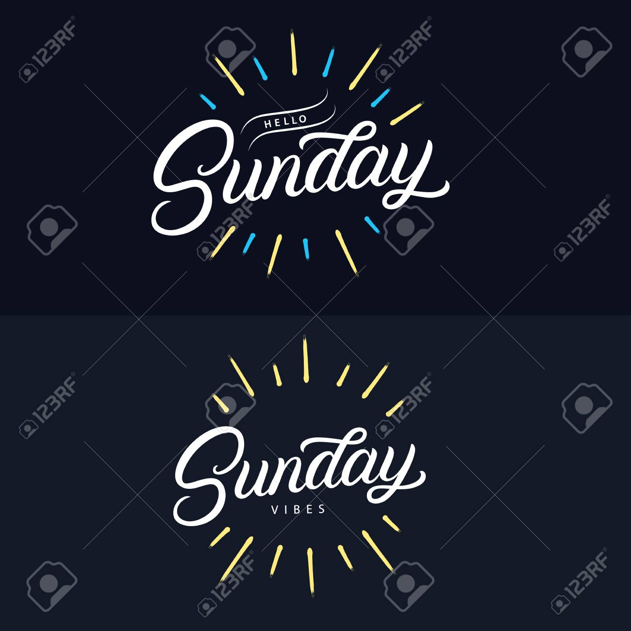 Sunday Set Hand Written Lettering Quotes Relax Its Sundeay