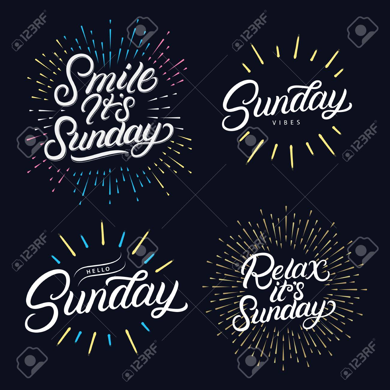 Sunday Set Hand Written Lettering Quotes Relax Its Sunday Hello
