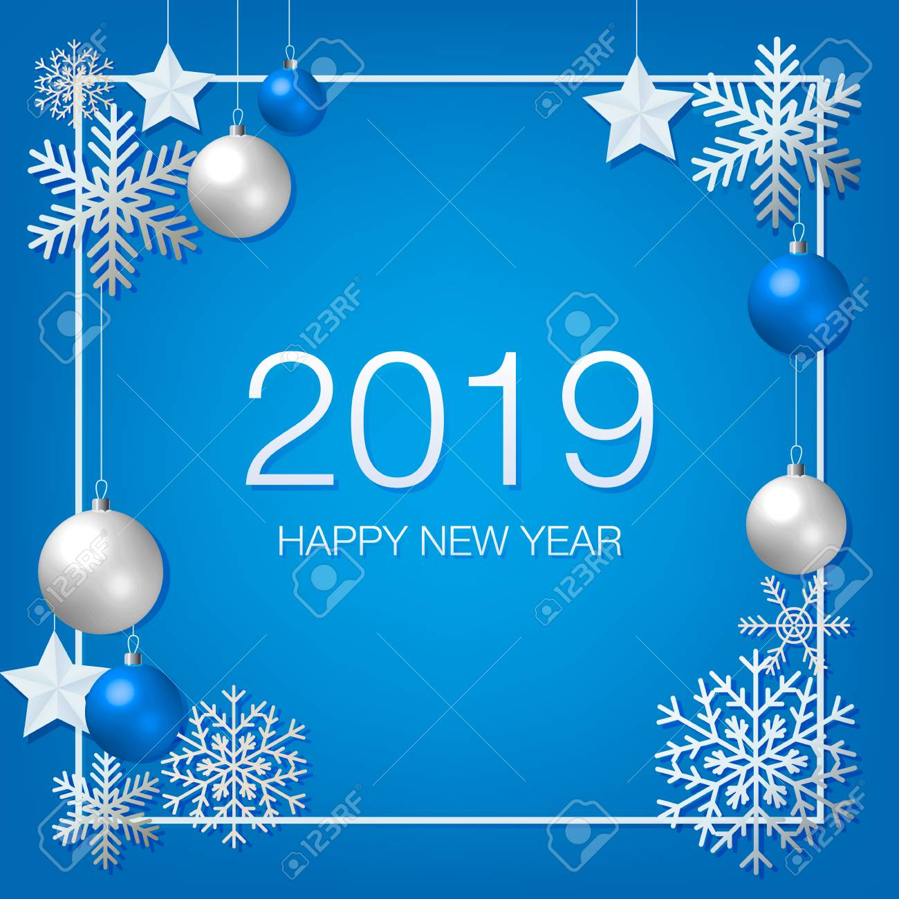 Happy New Year 2019 With Silver Decoration Ornament Frame With
