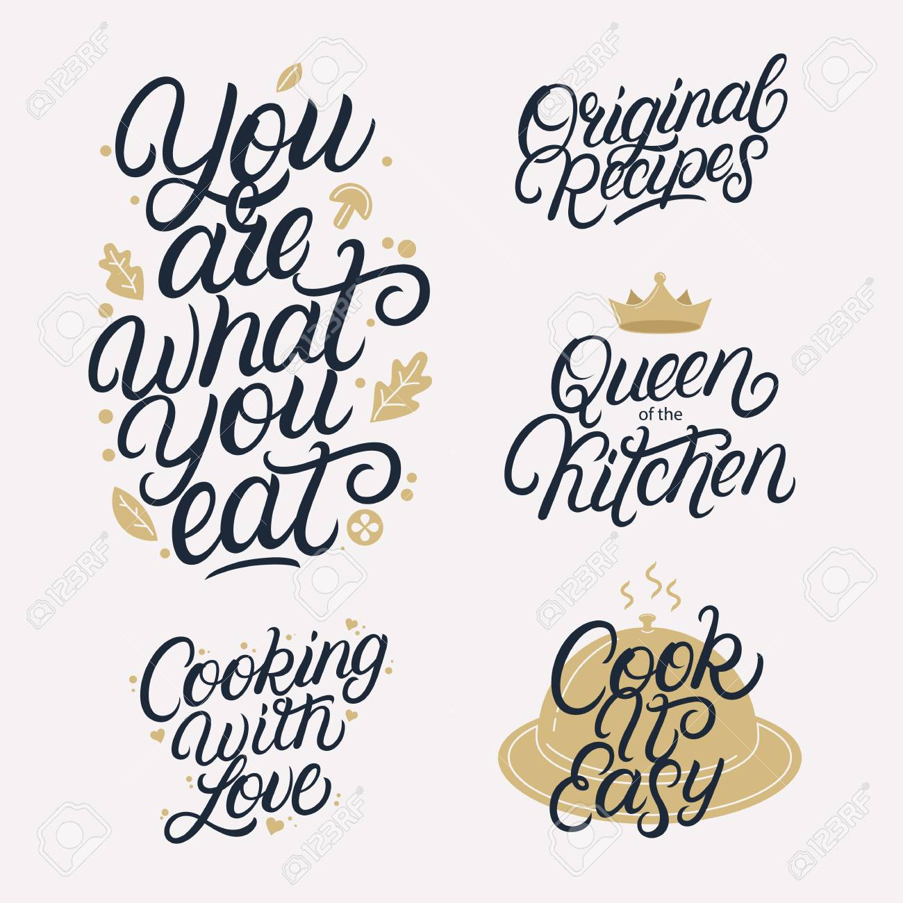 Kitchen related lettering calligraphy set. Quotes and phrases..